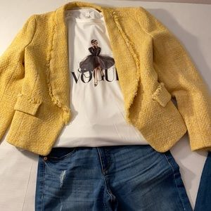 Zara basic yellow frayed tweed blazer jacket